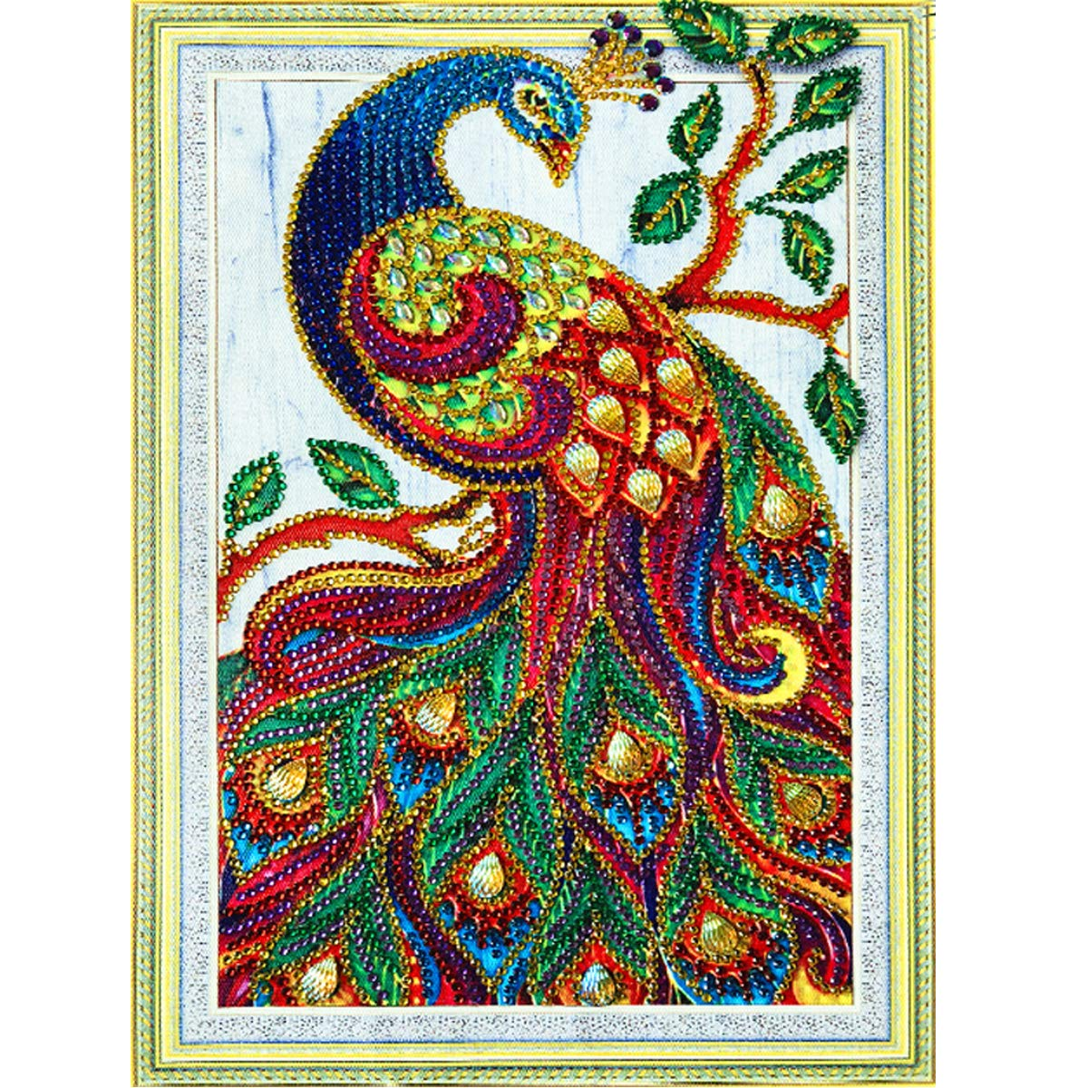 MXJSUA DIY 5D Special Shape Diamond Painting by Number Kit Crystal Rhinestone Round Drill Picture Art Craft Home Wall Decor 12x16In Colored Peacock