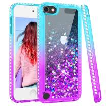 Maxdara iPod Touch 5 6 7 Case, Glitter iPod 5th 6th 7th Generation Case for Girls ChildrenLiquid Bling Sparkle Rhinestone Diamond Cute Case for iPod Touch 5th 6th 7th (Teal Purple)