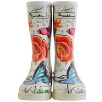Anuschka Women's Mid-Calf Rain Boot | Handmade Waterproof Natural Rubber | Memory Foam Insole