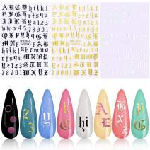 3D Letter Nail Art Sticker, KISSBUTY 3 Colors Letter Numbers Nail Stickers Old English Alphabet Words Nail Decals Ultra Thin Gummed Character Nail Adhesive Sticker Gold Black White Nail Art Decoration