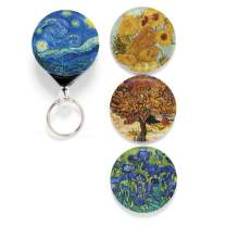 Buttonsmith Van Gogh Starry Night Tinker Reel Retractable Badge Reel - with Belt Clip and 24 inch Standard Duty Cord - Made in The USA