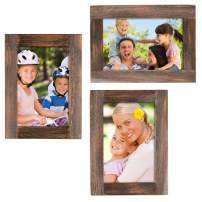 """Rustic Torched Wood Picture Frames: Includes three 4""""x6"""" Photo Frames: Ready to Hang or use Tabletop. Shabby Chic, Driftwood, Barnwood, Farmhouse, Reclaimed Wood Picture Frame (Brown)"""