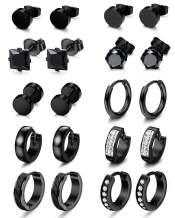 CASSIECA 10 Pairs Earrings for Men Stainless Steel CZ Stud Earrings Mens Huggie Hoop Earrings Set Black Silver Gold