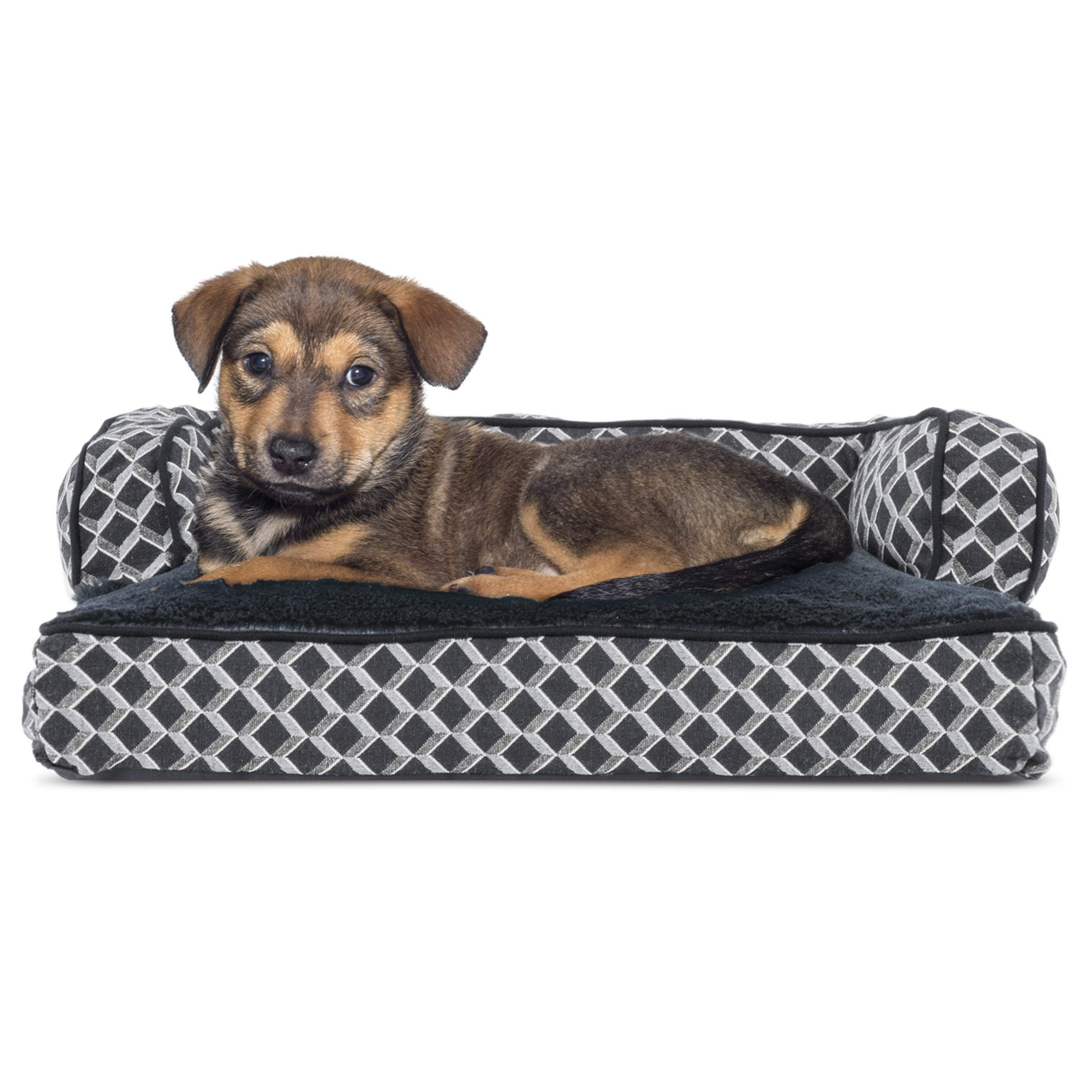 Furhaven Pet Dog Bed - Traditional Fiberfill Cushion Sofa-Style Living Room Couch Pet Bed with Removable Cover for Dogs & Cats - Available in Multiple Colors & Styles