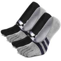 No Show Toe Socks for Mens Athletic Sports Ankle Sox Invisible Five Finger Socks Non Slip Boat Liners