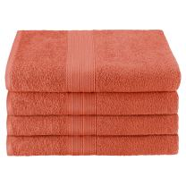 "Superior Eco-Friendly 100% Ringspun Cotton, 4 Piece Bath Towel Set (27"" x 54"") in Coral"
