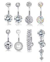 Udalyn 8 Pcs Rhinestone Pearl Navel Rings Belly Button Ring Dangle Body Jewelry