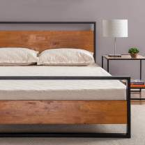 Zinus Suzanne Metal and Wood Platform Bed with Headboard and Footboard / Box Spring Optional / Wood Slat Support, Full