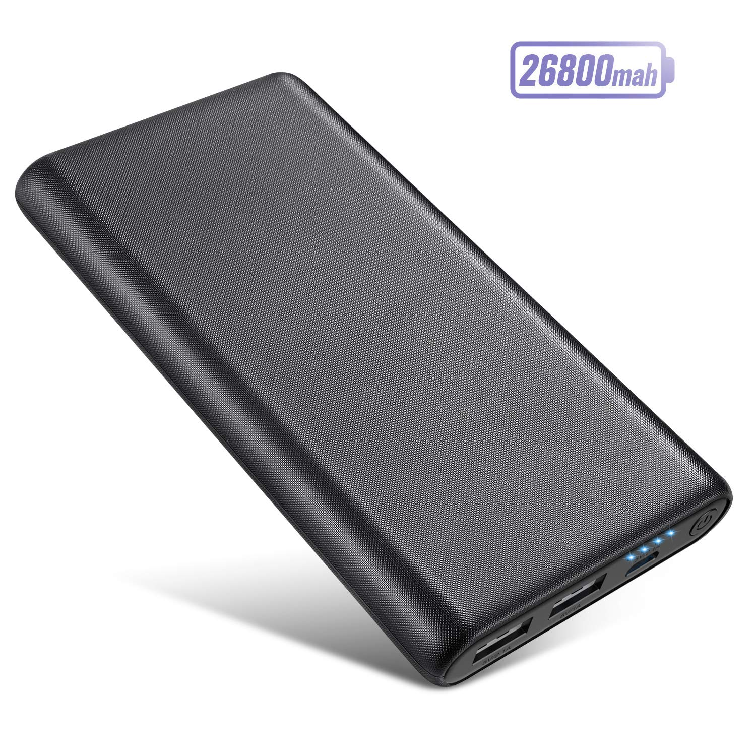 Portable Charger 26800mAh Power Bank, Ultra-High Capacity Universal External Battery Pack with 4 LEDIndicator DualUSB Ports Battery Backup for Smart Phones,Tablet and More-[Black]