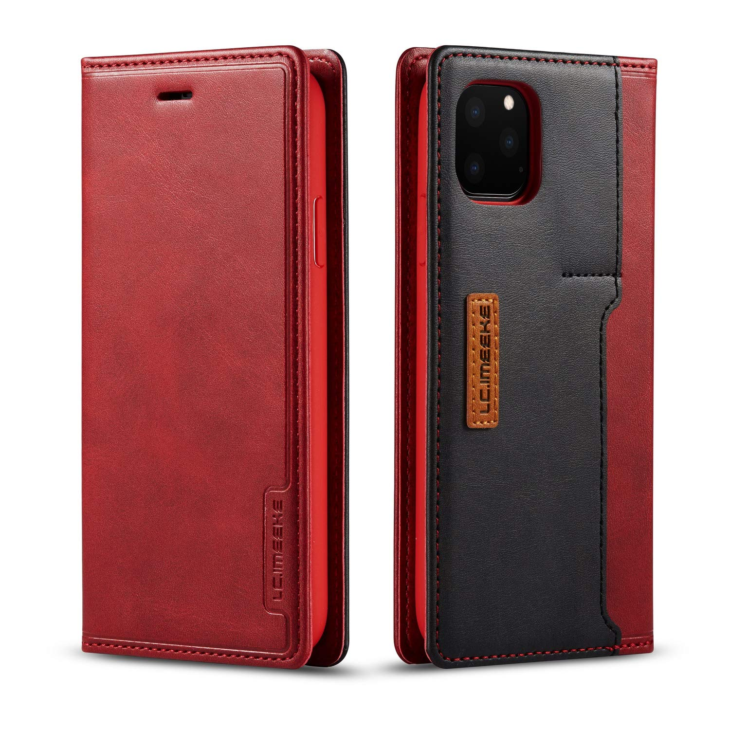 DEFBSC iPhone 11 Pro Flip Wallet Case with Card Holder,Magnetic Closure Premium PU Leather Folio Flip Case with Kickstand for iPhone 11 Pro 5.8 Inch,Red