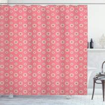"""Ambesonne Floral Shower Curtain, Flowers with Little Hearts The Middle Romantic Love Theme, Cloth Fabric Bathroom Decor Set with Hooks, 75"""" Long, Pale Yellow"""