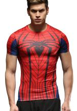 Red Plume Men's Compression Fithness T-Shirt, Spider Printing Fithness T-Shirts