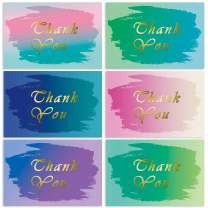 Thank You Cards Gold Foil Watercolor with Envelopes Stickers, 60 Count Thank You Greeting Notes Set Bulk, Blank on The Inside, 6 Designs Perfect for Baby Shower Wedding Graduation Party, 4 x 6 Inches