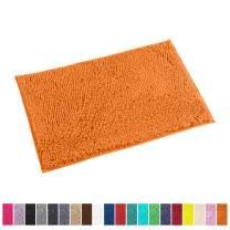 LuxUrux Bath Mat-Extra-Soft Plush Bath Shower Bathroom Rug,1'' Chenille Microfiber Material, Super Absorbent Shaggy Bath Rug. Machine Wash & Dry (20 x 30, Orange)