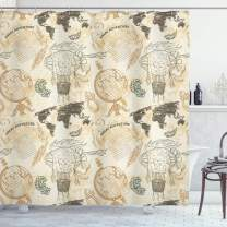 """Ambesonne World Map Shower Curtain, Pattern with Vintage Globe World Map Airship Rope Knots Ribbon Retro Print, Cloth Fabric Bathroom Decor Set with Hooks, 84"""" Long Extra, Beige Green"""