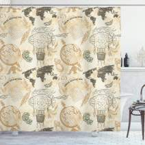 """Ambesonne World Map Shower Curtain, Pattern with Vintage Globe World Map Airship Rope Knots Ribbon Retro Print, Cloth Fabric Bathroom Decor Set with Hooks, 75"""" Long, Beige Green"""
