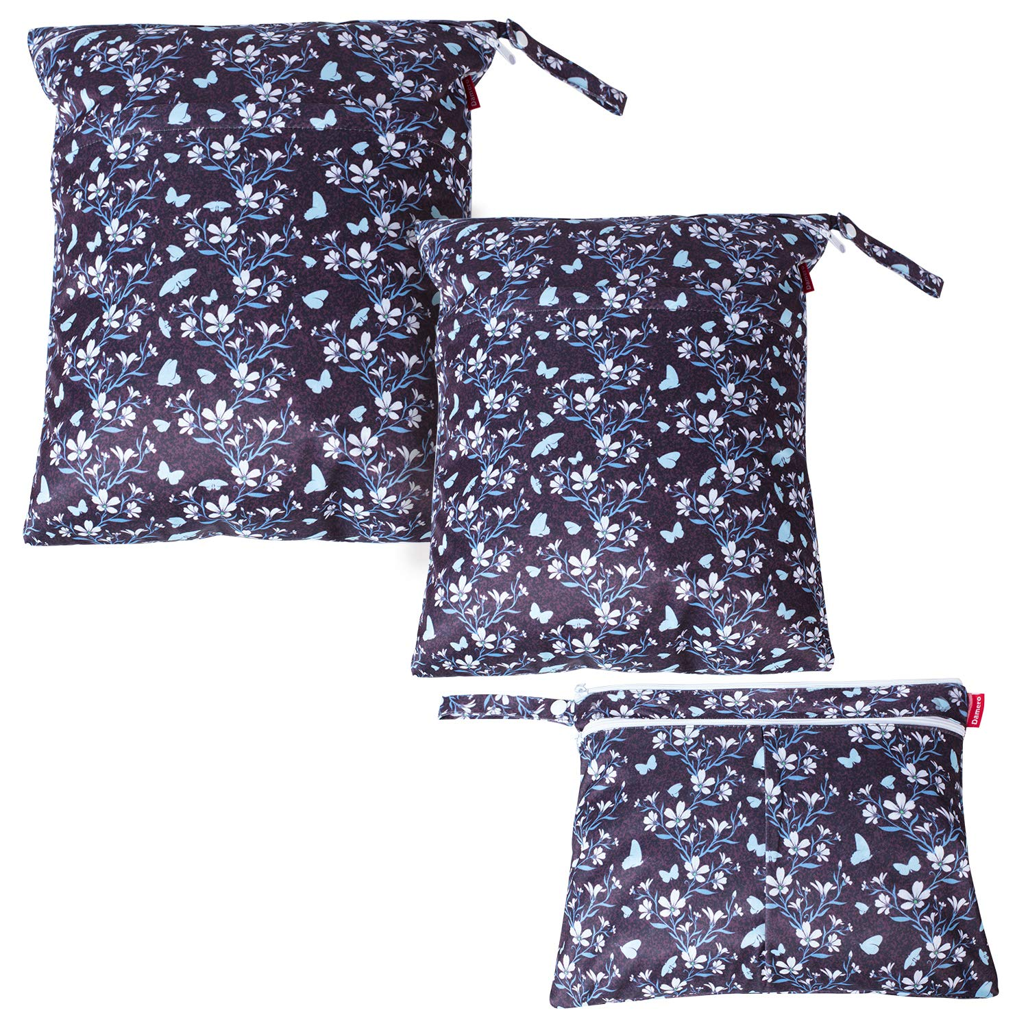 Damero 3Pcs Wet Dry Bag for Cloth Diaper, Swimsuit, Clothes, Ideal for Travel, Exercise, Daycare, Roomy and Water-Resistant(Butterflies and Flowers)