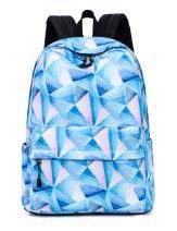 Leaper School Backpack Teens Geometric Pattern Travel Bag Girls Bookbag Blue