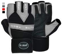 EMRAH Genuine Leather Weight Lifting Gloves Gym Body Building Cross Training Gloves Fitness Work Out Training Straps Workout Wrist Support Training, Fitness, Bodybuilding and Exercise - X