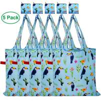 CALACH Cactus Grocery Bags Reusable Foldable Shopping Bags 5 Pack Large Cute Groceries Totes with zip pouch Waterproof Machine Wash Ripstop Eco-Friendly (Blue Toucan)