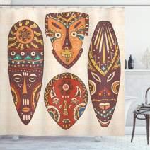 "Ambesonne Tiki Bar Shower Curtain, Designs Aborigine Artwork Patterns Cultural Hawaiian Print, Cloth Fabric Bathroom Decor Set with Hooks, 75"" Long, Cream Brown"