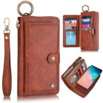 XRPow Galaxy S20 Ultra Case, S20 Ultra 5G Case Wallet, [2 in 1] [Magnetic Detachable] Zipper Wallet Folio Case [Wrist Strap] Slim Leather Shock Back Cover with Credit Card Holder Purse - Brown