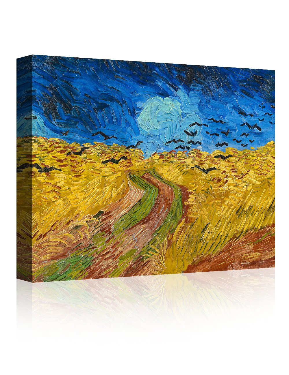 IPIC - Wheat Field with Crows, Vincent Van Gogh Art Reproduction. Giclee Canvas Prints Wall Art for Home Decor 10#F(20X16)
