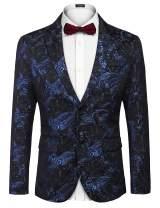 COOFANDY Mens Floral Tuxedo Jacket Slim Fit Luxury Blazer Wedding Party Prom Dinner Suit Jacket