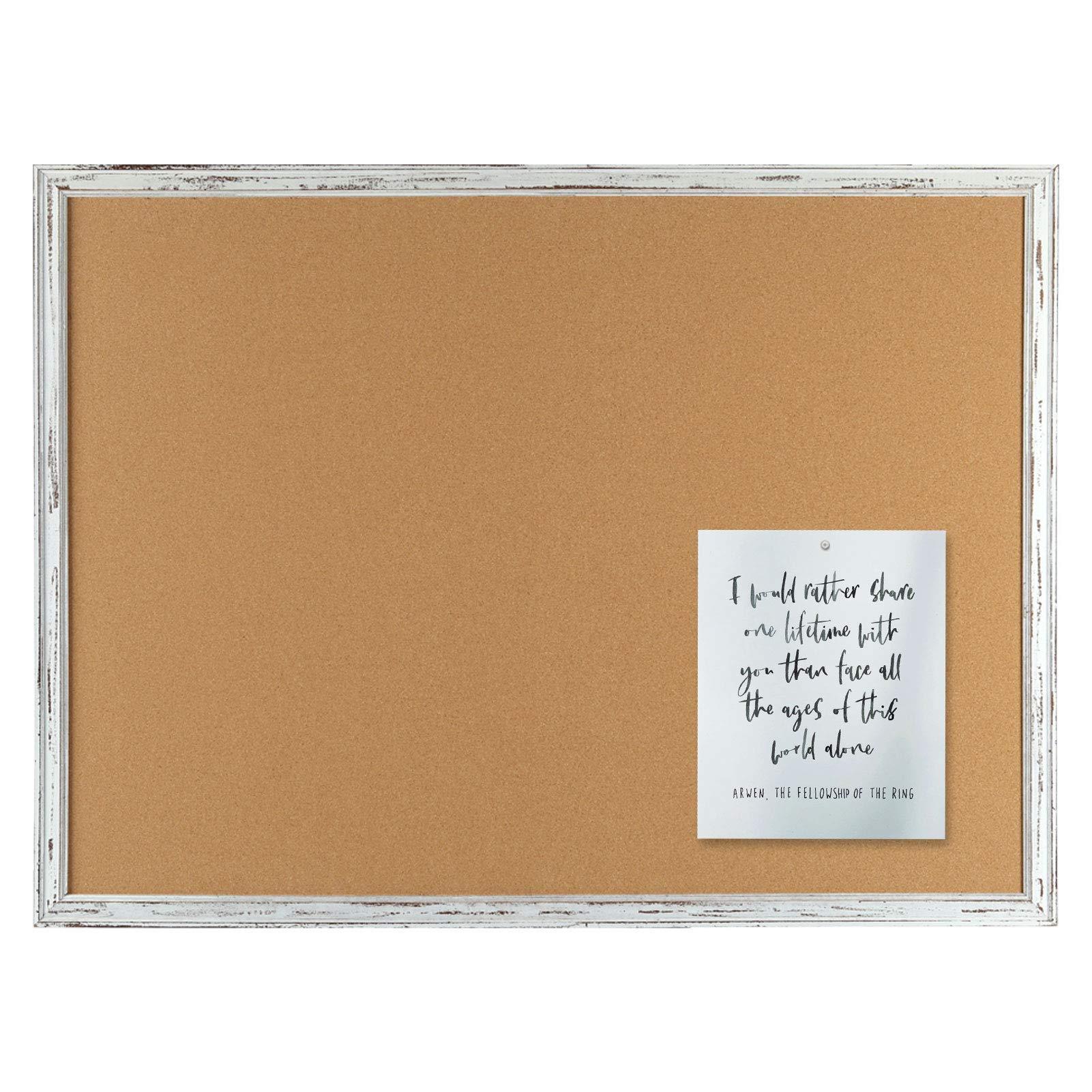 Cork Bulletin Board White Framed, 36 x 24 Inches, Corkboard Bulletin Pin Board, 2' x 3'