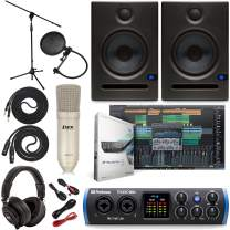 PreSonus Studio 24c 2x2 USB Type-C Audio/MIDI Interface w/Eris E5 Pair Studio Monitors, Studio Microphone and LyxPro Recording Bundle