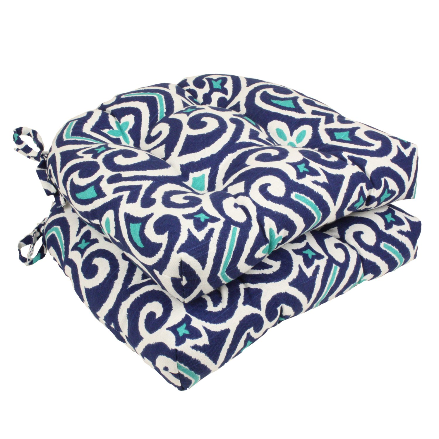 Pillow Perfect Damask Reversible Chair Pad, Set of 2, Blue/White