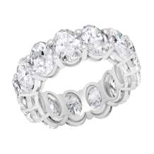 Dazzlingrock Collection 13.21 Carat (ctw) Oval White Diamond Ladies Eternity Wedding Stackable Ring Band, 14K White Gold, Size 8