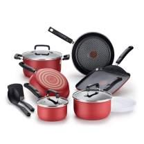 T-fal Signature Titanium Advancend Nonstick Pots and Pans Cookware Set, 12 Piece, Red