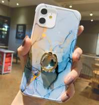 """Anynve Compatible with iPhone 12 Marble Case, iPhone 12 Pro Case Trendy Cute for Women Girls with 360 Degree Rotating Ring Kickstand, Shockproof Corners+Hard Back+Soft TPU Bumper Case 6.1""""-Blue"""