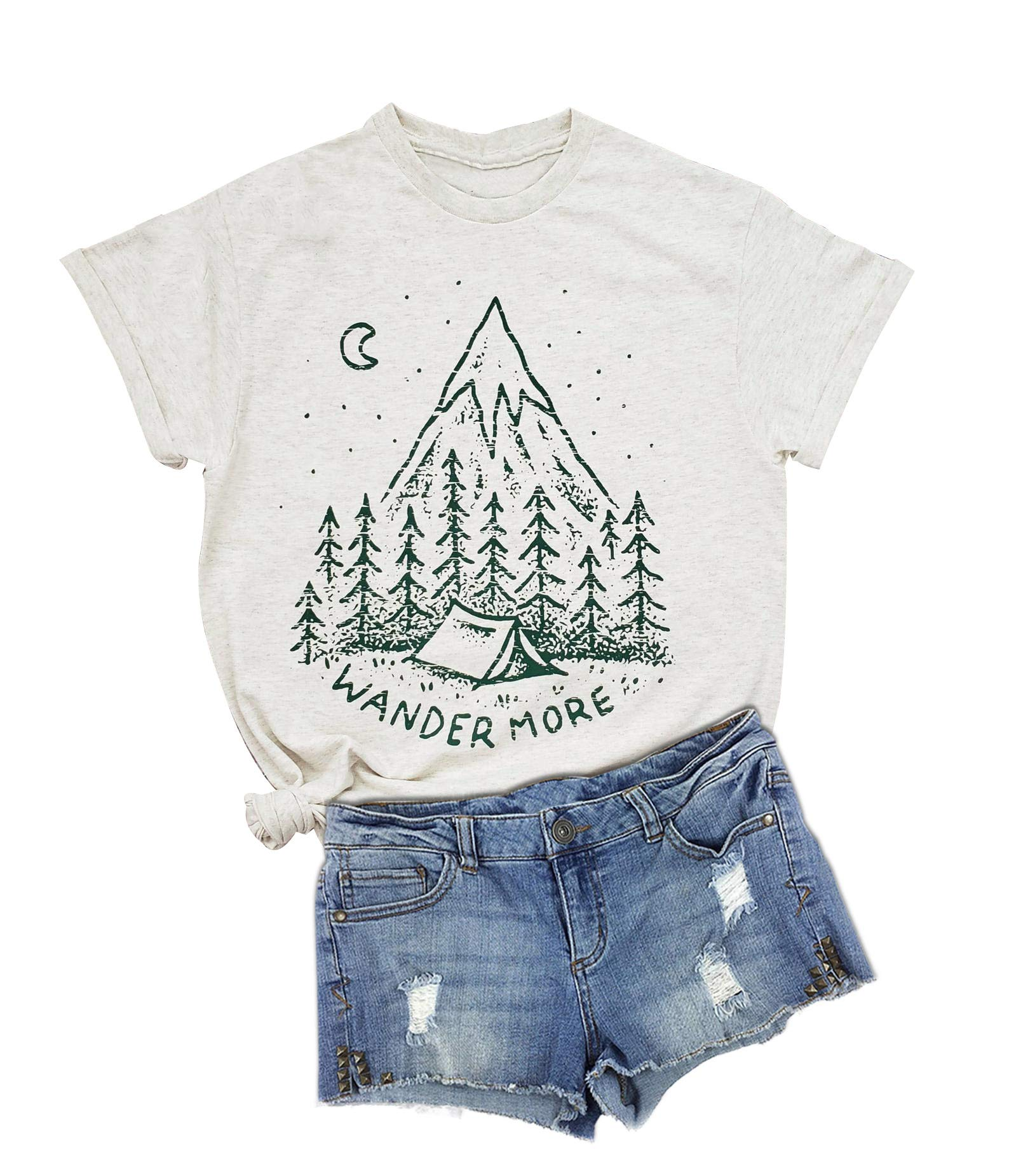 Anbech Camping Hiking Shirts Women Vintage Nature Graphic Tee Travel T-Shirt Summer Outfits