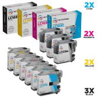 LD Compatible Ink Cartridge Replacement Set for Brother LC103 (3 Black & 2 Each of Cyan/Magenta/Yellow)