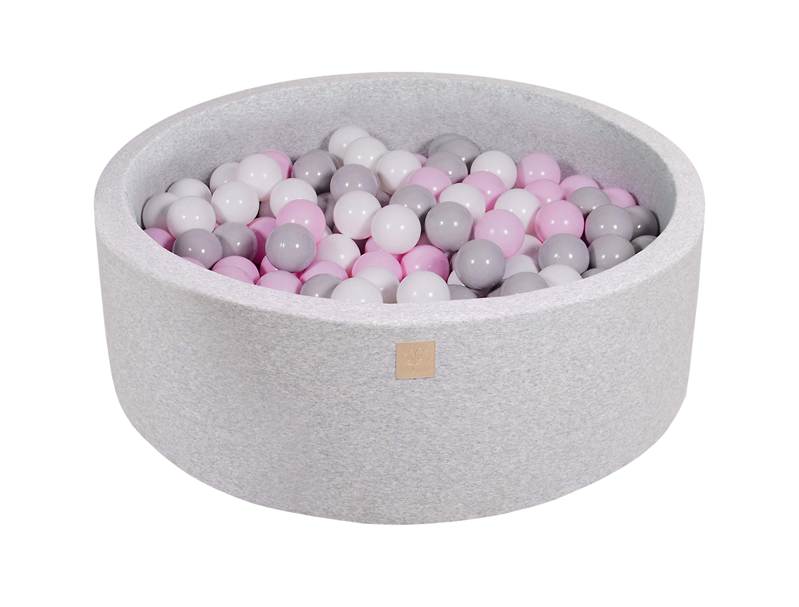 MEOWBABY 35 x 11.5 in /200 Balls Included ∅ 2.75in Foam Ball Pit for Baby Kids Soft Round Ball Pool Children Toddler Playpen Made in EU Light Grey: Pastel Pink/Grey/White