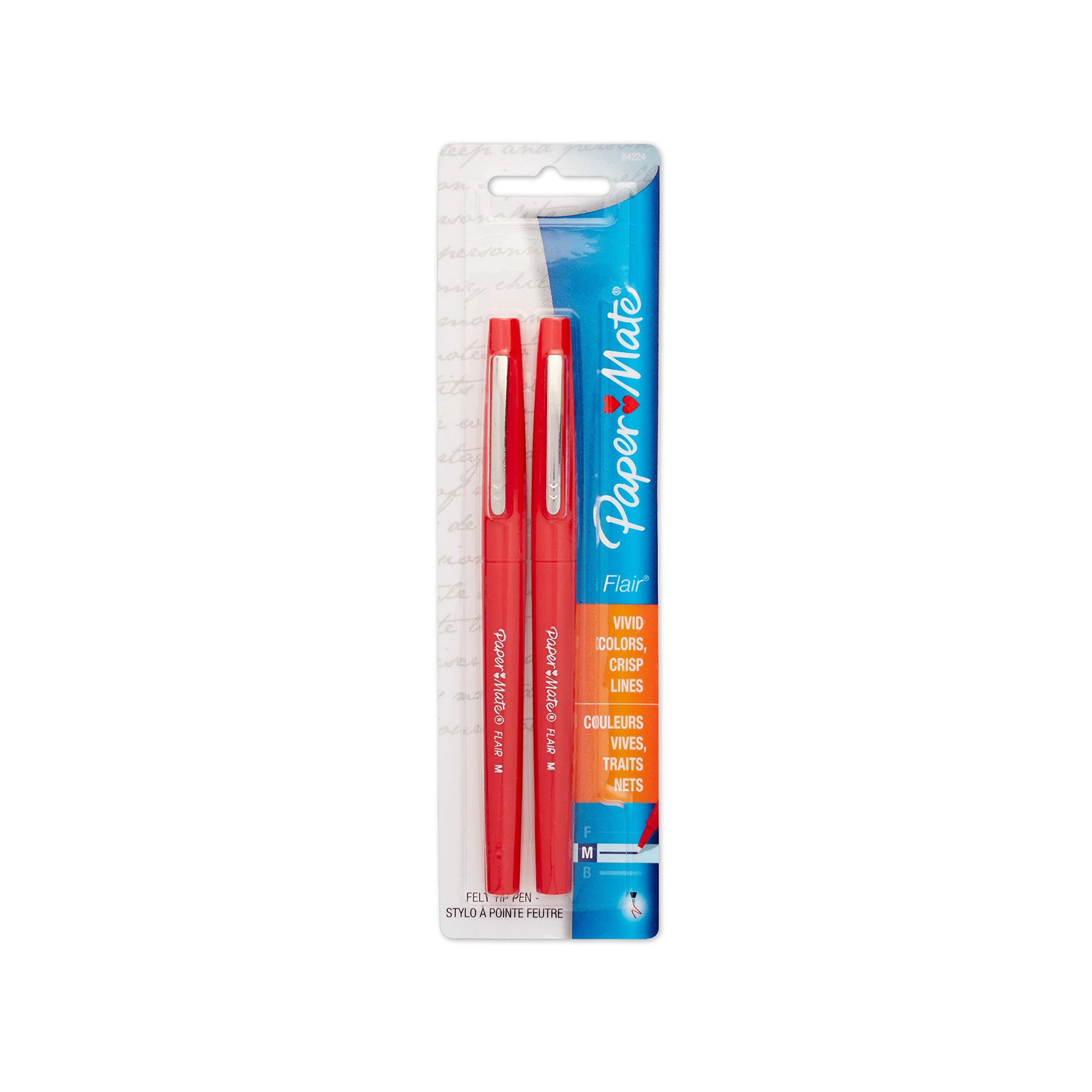 Paper Mate Flair Porous-Point Felt Tip Pen, Medium Tip, 2-Pack, Red (8422452PP)