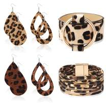 LOYALLOOK 6 Set Leopard Leather Bracelet Leopard Teardrop Leather Earrings Multilayer Cuff Bracelet Statement Leopard Jewelry Set for Women