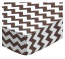 SheetWorld Fitted Crib / Toddler Sheet - Brown Chevron Zigzag - Made In USA