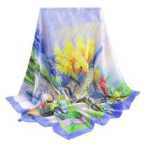 35'' Square or Solid Oblong Large 100% Mulberry Silk Hair Scarf Wrap With Gift Box Package