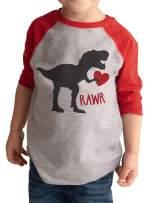 7 ate 9 Apparel Kids Dinosaur Happy Valentine's Day Red Raglan