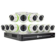 EZVIZ Outdoor 3MP Video Security Surveillance System, 12 Weatherproof HD Cameras, 16 Channel 2TB DVR Storage, 60ft Night Vision, Motion Tracking