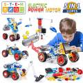 kidpal Building Toys Kit, 5 in 1 STEM Toy with Electric Power Motor for Kid, Educational Construction Learning Toys for Age 5 6 7 8 9 10 11 Year Yr Old Boy, 113 PCS DIY Engineering Building Blocks Toy
