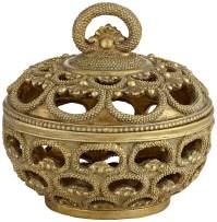 "Kensington Hill Riya 5"" Wide Antiqued Gold Openwork Jewelry Box"