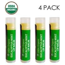 USDA Organic Lip Balm by Sky Organics - 4 Pack Eucalyptus Mint Lip Balms With Beeswax, Coconut Oil, Vitamin E. Best Lip Plumper Chapstick for Dry Lips- Adults Lip Repair Made In USA (Eucalyptus Mint)