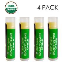 USDA Organic Lip Balm by Sky Organics - 4 Pack Eucalyptus Mint Lip Balms With Beeswax, Coconut Oil, Vitamin E. Best Lip Plumper Chapstick for Dry Lips- Adults Lip Repair Made In USA (Eucalyptus Mint)