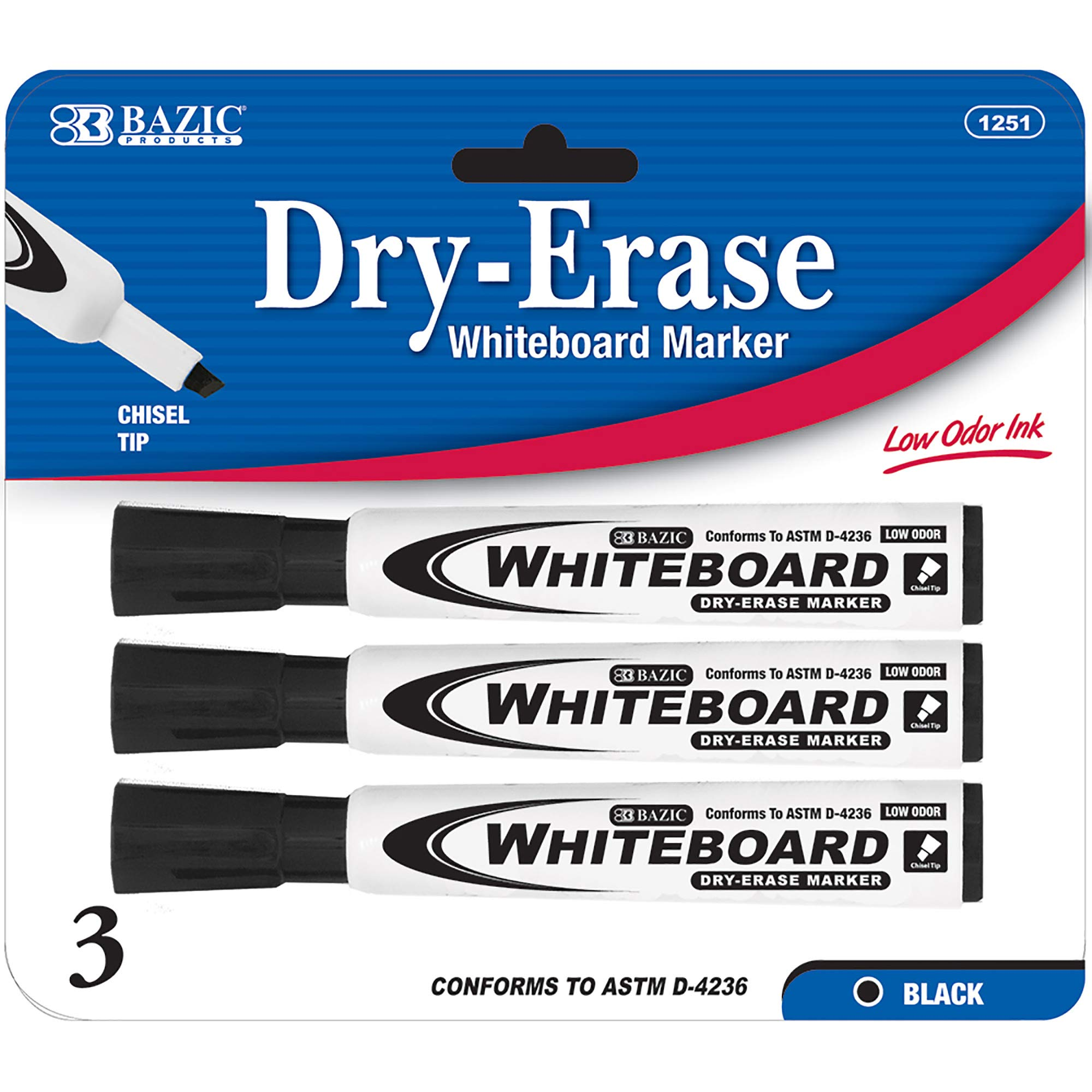 BAZIC Black Chisel Tip Dry Erase Marker, Whiteboard Pens Markers Marcador Rainbow colors, School Office (3/Pack)