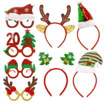 8 Pack Christmas Headbands Christmas Glasses Frames Holiday Party Fancy Glitter Headbands Glasses, 4 Pcs Christmas Headbands and 4 Pcs Christmas Party Glasses Frames, Reindeer Antlers Snowman Xmas Tree Photo Prop Booth for Christmas Party