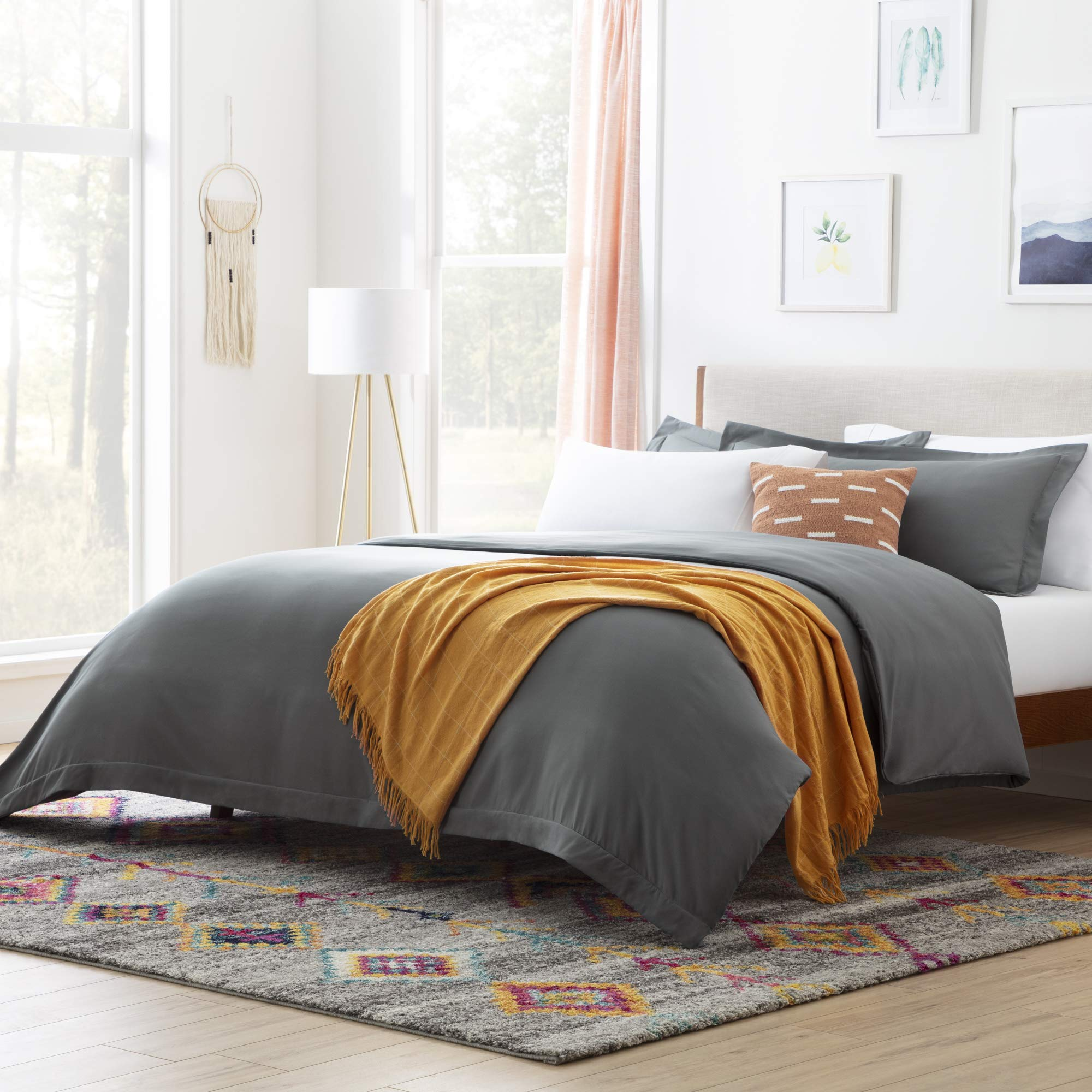 LINENSPA Microfiber Duvet Cover - Three Piece Set Includes Duvet Cover and Two Shams - Soft Brushed Microfiber - Hypoallergenic, Charcoal, Cal King